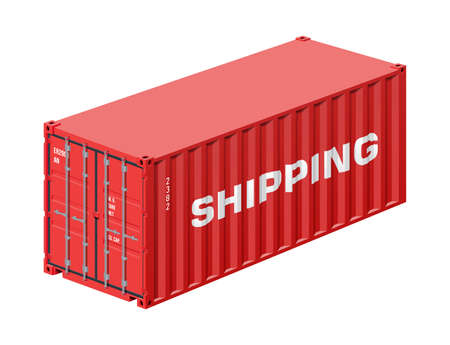 Shipping container isolated on white, realistic vector illustration