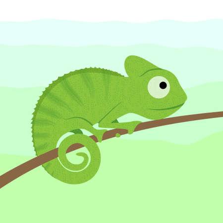 Chamleon cartoon character sitting on tree branch