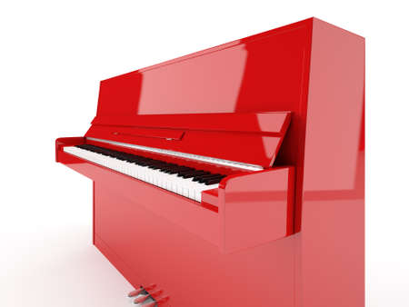 upright: Red classical upright piano isolated on white