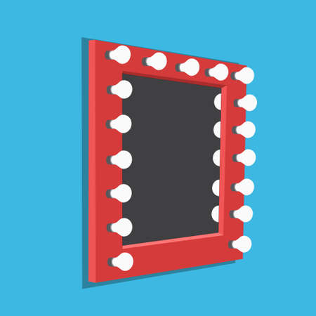 Vector illustration of mirror with bulbs for makeup