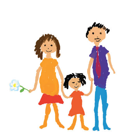 Happy family vector illustration in childs drawing style Vector