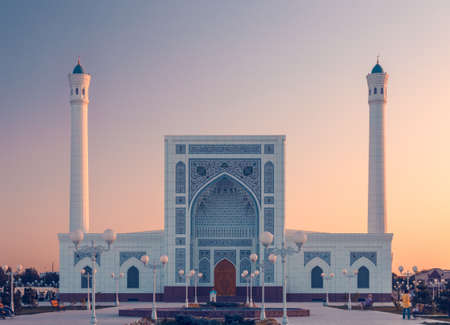 The portal of Mosque in Tashkent at sunset