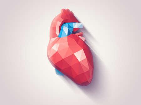 geometria: Ilustración del corazón humano con efectos a la geometría de baja poli facetas, vector