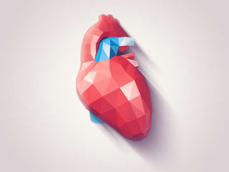 Illustration of human heart with faceted low-poly geometry effect, vector Stock Photo