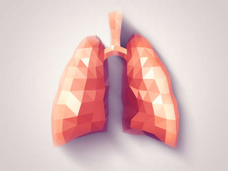 anatomy art: Illustration of human lungs with faceted low-poly geometry effect