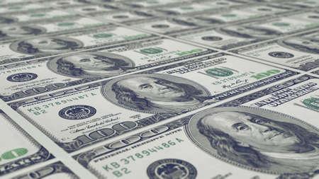 dollaro: foglio non tagliato di stampa note di 100 dollari