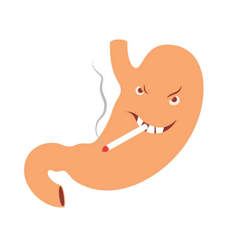gullet: Illustration of smoking human stomach cartoon character with heartburn disease Illustration