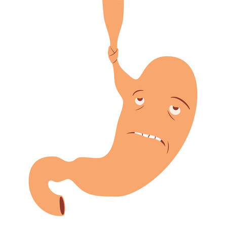 starvation: Illustration of human stomach cartoon character with anorexia disease Illustration