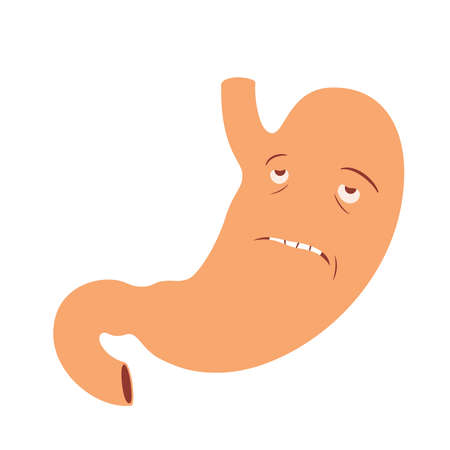 abstinence: Illustration of sad human stomach cartoon character