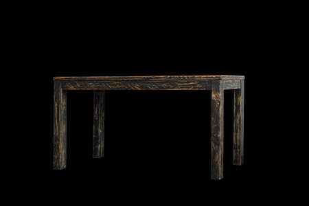 Empty wooden table isolated on black Stock Photo