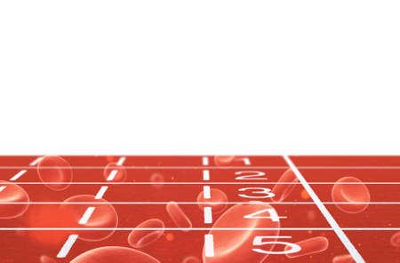 double lane: Running track with red blood cells double exposure on white background 3d illustration