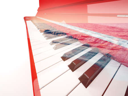 breaking waves: Red classical piano close-up double exposure with calm sea breaking waves isolated on white