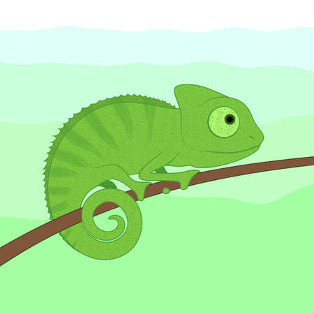 Little green chameleon cartoon character sitting on tree branch