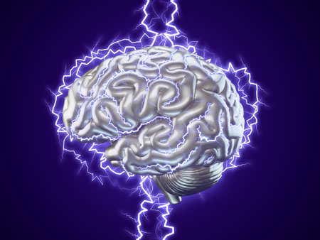 lightnings: 3d Illustration of human brain made of metal with lightnings isolated, brainstorm concept Stock Photo