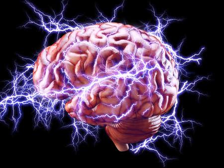 lightnings: 3d Illustration of human brain with lightnings isolated, brainstorm concept