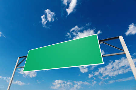 Big blank sign above the road over blue sky, 3d illustration  Stock Photo