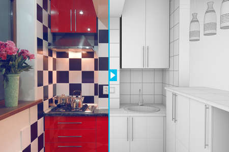 redecoration: Modern interior of small red kitchen half finished, half 3d illustration clay render Stock Photo