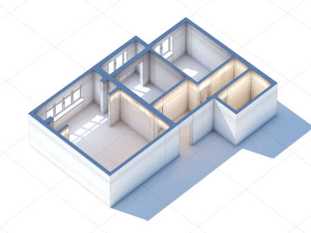 clay modeling: House interior design planning sketch draft 3d rendering (general aerial view)