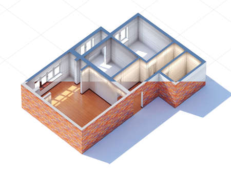 roofless: House interior design planning sketch draft 3d rendering half draft and half ready (general aerial view)