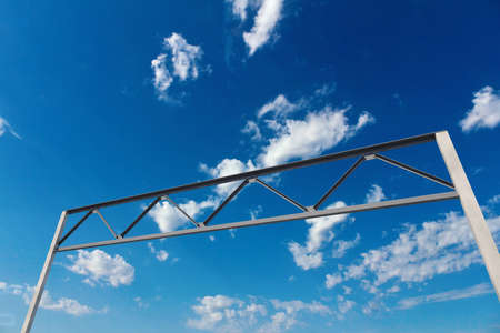 Big concrete and metal mount for sign above the road over blue sky, 3d illustration