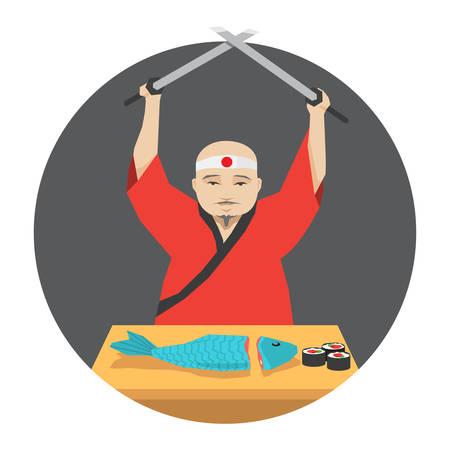 Japanese chef in kimono cooking fish sushi using two katana, vector illustration Illustration