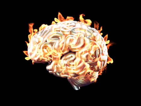 3d Illustration of burning human brain made of metal isolated Stock Photo