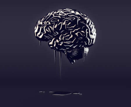 3d illustration of human brain made of oil, concept of petroleum mania Stock Photo
