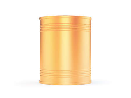 photorealistic: Photorealistic 3d illustration of blank golden can, mockup isolated on white