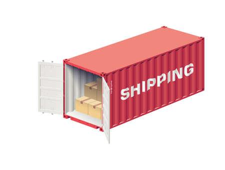 Open verzenden container geladen door dozen geïsoleerd op wit, realistische vector illustratie Stock Illustratie