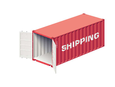 lading: Open shipping container prepared for loading isolated on white, realistic vector illustration