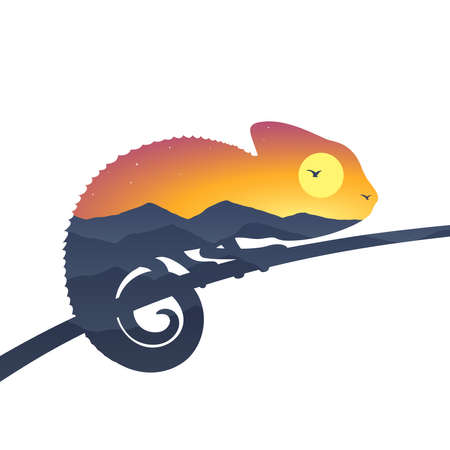 Double exposure effect of chameleon and sunset landscape with mountains, vector illustration