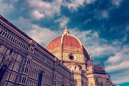 Duomo Santa Maria del Fiore roman catholic church building at sunset in Florence, Italy, gothic style architecture, closeup Stock Photo