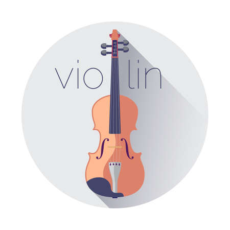 A violin isolated on white background, flat vector illustration Illustration