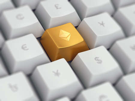 Computer keyboard with popular cryptocurrency ethereum on golden button and common currency symbols on white - dollar, euro, yen, pound, etc, 3d illustration, concept