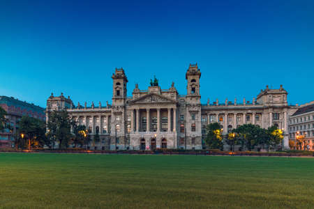Budapest, Hungary - August 01, 2017: The Ethnographic Museum building in Budapest at sunset, Hungary
