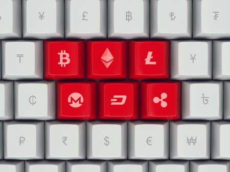 Set computer keyboard buttons with most popular cryptocurrency and common currency symbols on them - bitcoin, ethereum, litecoin, dollar, euro, yen, pound, etc, 3d illustration, concept Redakční