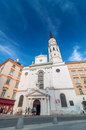 Vienna, Austria - August, 02 2017: Church of St. Michael on Michaelerplatz very old church in Vienna, 13th century