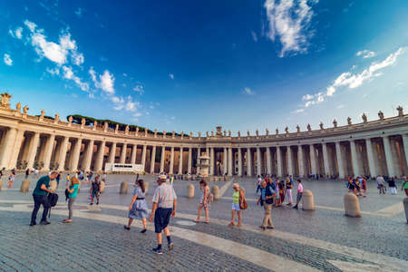 VATICAN, Rome, Italy - August 09, 2017: St Peters Square with tourists at sunset Redakční