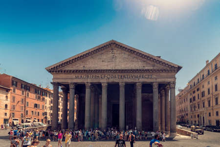 ROME, Italy - August 10, 2017: Pantheon with lot of tourists, ancient architecture, wide shot Redakční