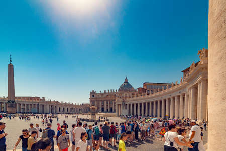VATICAN, Rome, Italy - August 09, 2017: St Peters Basilica with tourists queue