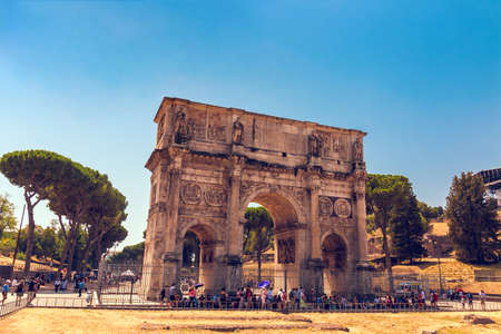 ROME, Italy - August 09, 2017: Triumphal Arch of Constantine near Colosseum in Rome, Italy