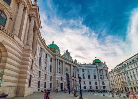 VIENNA, Austria - August 02, 2017: The Hofburg imperial Palace in Vienna, wide shot