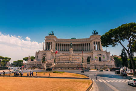 ROME, Italy - August 09, 2017: Altare della Patria and Monument to Victor Emmanuel, the first king of a unified Italy, on Piazza Venezia, Rome, Italy Editöryel