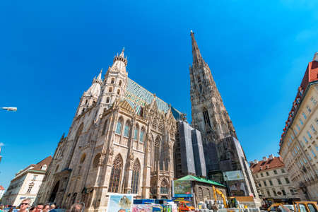 VIENNA, Austria - August 02, 2017: St. Stephens Basilica roman catholic church building of Vienna in Austria, gothic style architecture, wide shot