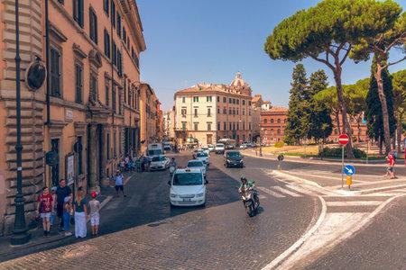 ROME, Italy - August 09, 2017: Street traffic in Rome Via del Teatro di Marcello street, Italy