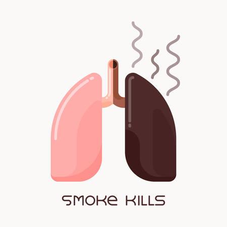 Flache Designillustration der gesunden und ungesunden menschlichen Lunge, Rauchsuchtkonzept Vektorgrafik