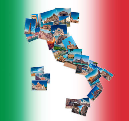 Photo collage made of Italy travel landmarks, arranged in shape of Italy map boot