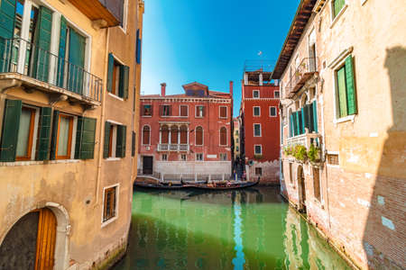 View of canal in Venice and street with beautiful colorful old houses Reklamní fotografie
