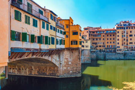 Closeup of Ponto Vecchio bridge in Florence, Italy, at summer, toned image