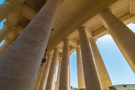 Bottom view of columns on St. Peter Square, Vatican, Rome 免版税图像